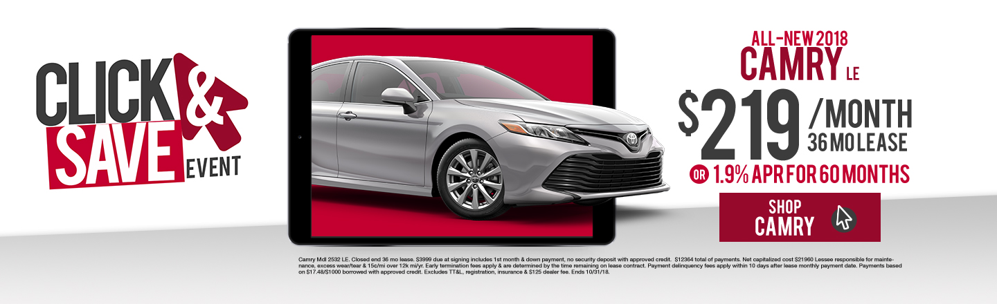 JDTG 2018 Toyota Camry LE Click And Save Event Granbury Oct18