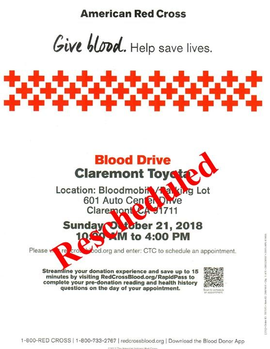 Claremont Toyota Blood Drive