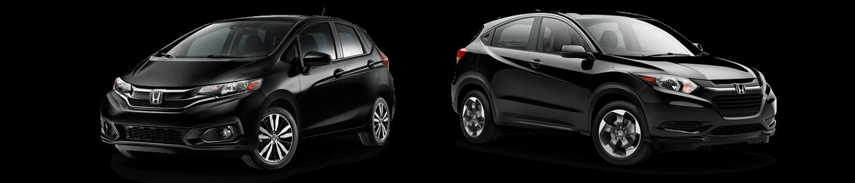 black honda Fit and black honda HR-V side by side