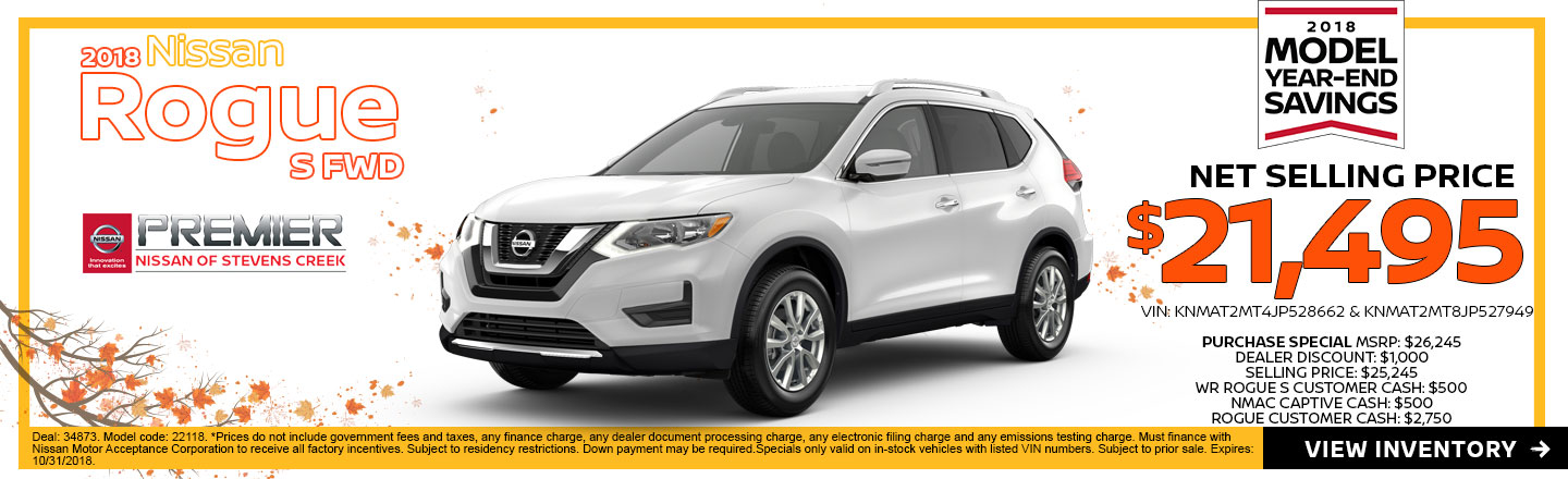 All In Stock 2018 Nissan Rogues At Premier Nissan Of Stevens Creek