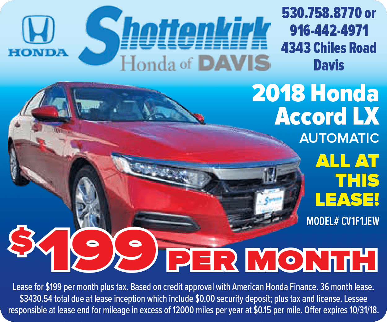 2018 Honda Accord LX 1.5T CVT Lease Special for $199 per month for 36 months at Shottenkirk Honda of Davis