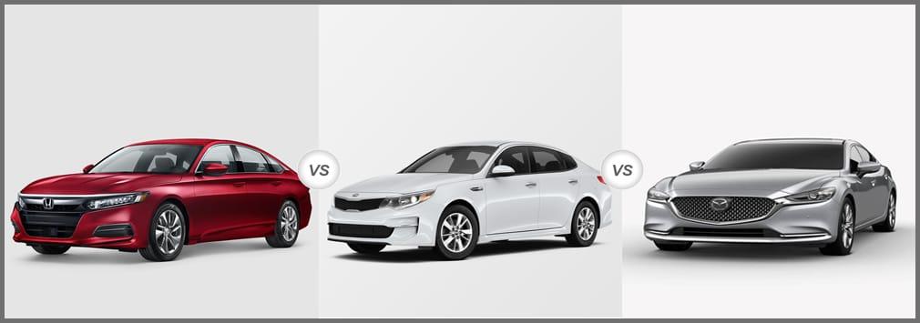 2018 Honda Accord vs 2018 Kia Optima vs 2018 Mazda 6