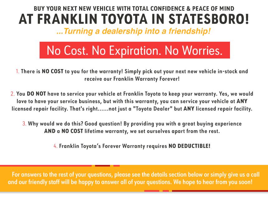 Warranty Forever Toyota Dealership Statesboro Ga