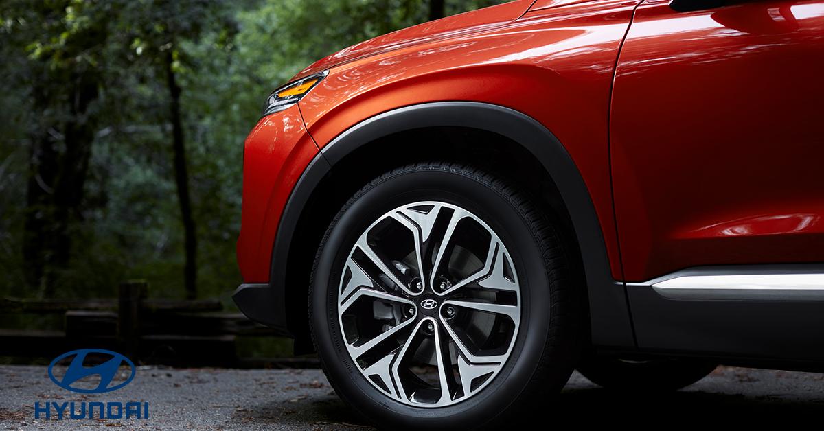 Close up of the tires on a Hyundai Santa Fe XL