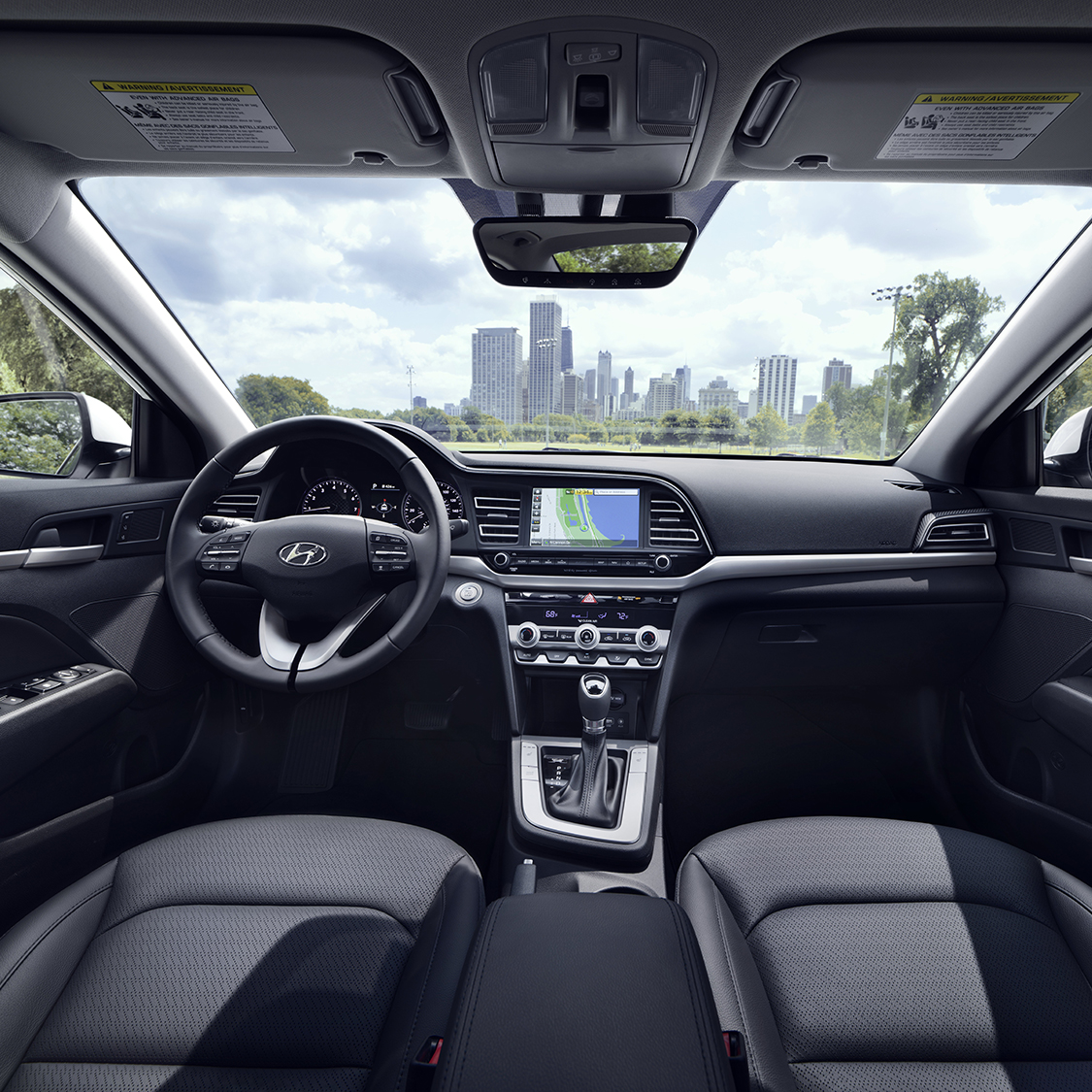 Interior View of the Drivers and Passengers Cabin of the 2019 Hyundai Elantra
