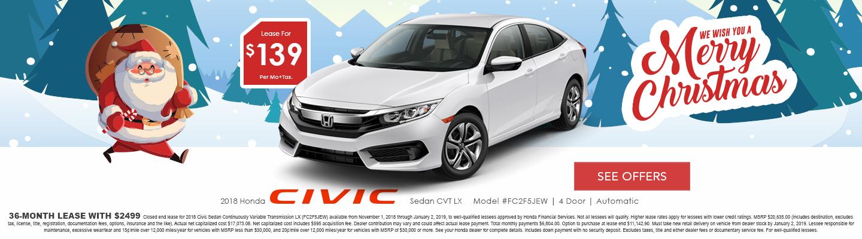 2018 Honda Civic Lease Deals New Honda Specials In Hemet