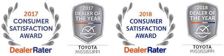 Herrin Gear Toyota is 2018 & 2017 Dealer of the Year in Mississippi by Dealer Rated