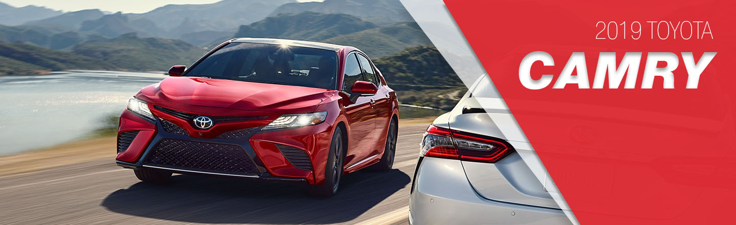 2018 Red and gray Exterior Camry On Road at Toyota of Portland