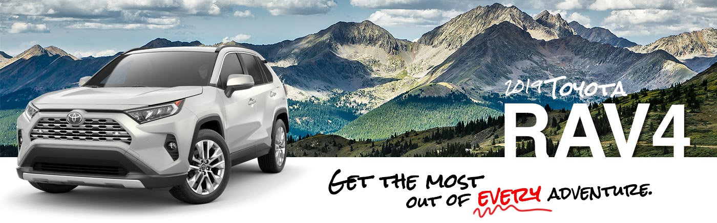 2019 white Exterior Rav4 On Road at Carlock Toyota of Tupelo