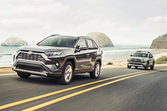 2019 Toyota RAV4 driving along coast