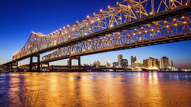 New Orleans bridge at night