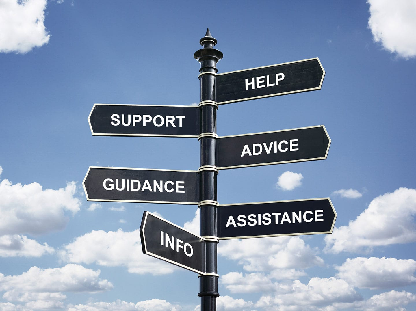 Signpost for help and support