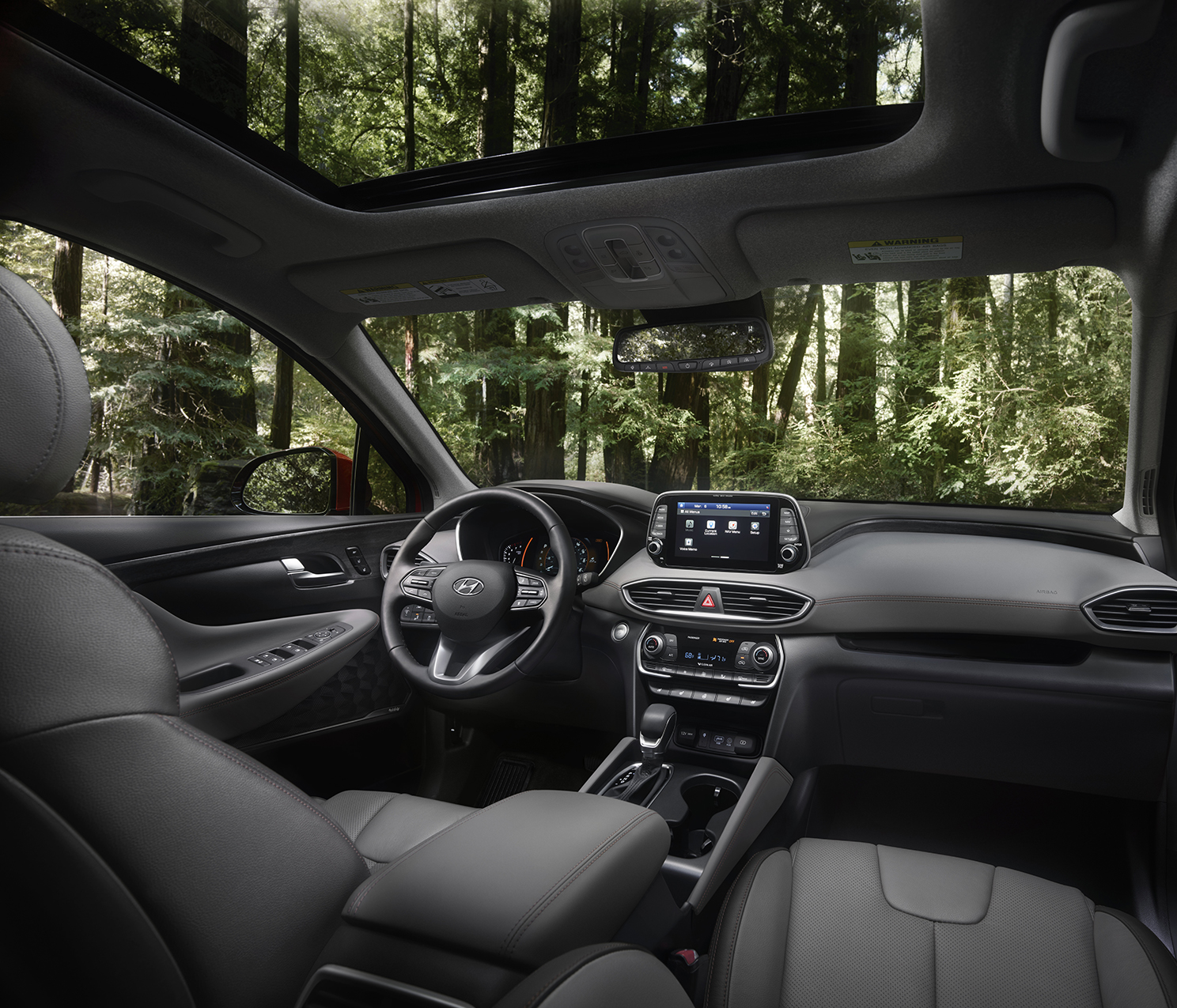 Interior cabin of the 2019 Santa Fe
