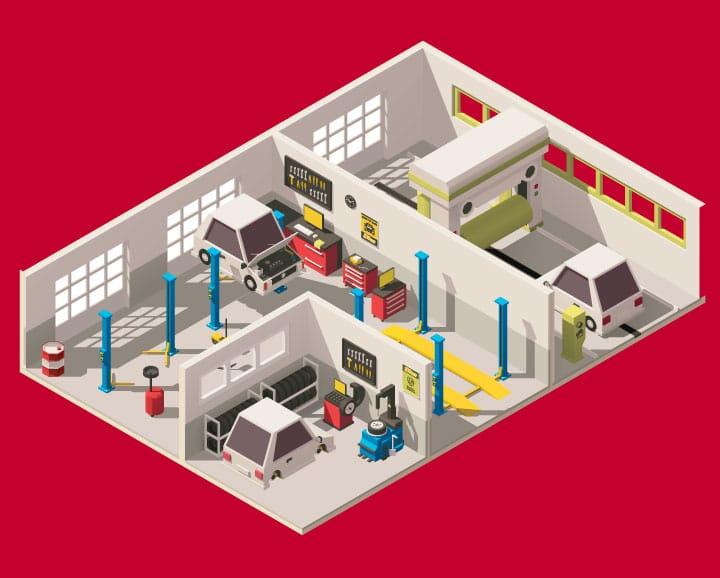 Car service center vector art