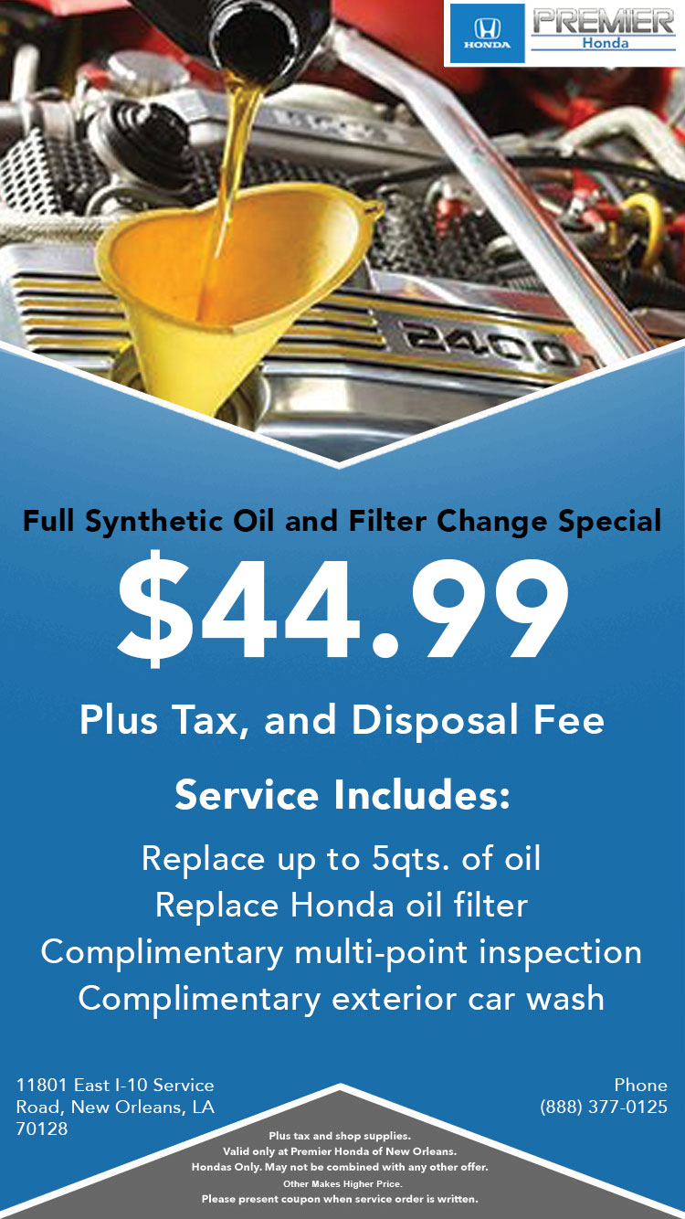 New Orleans Coupons >> Honda Service Coupons Specials In New Orleans La Premier Honda