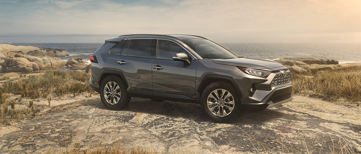 Silver 2019 RAV4 parked on cliffside