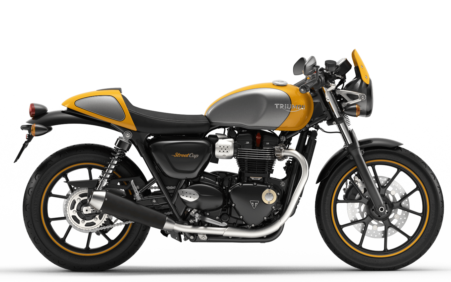 2019 Triumph Street Cup in Racing Yellow and Silver Ice