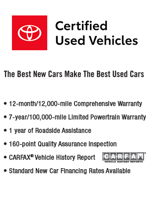 Toyota Certified Pre Owned >> Why Buy Certified Pre Owned