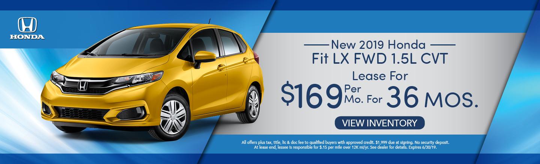 New 2019 Honda Fit LX FWD 1.5L CVT Lease for $169 per mo. x 36 mos.