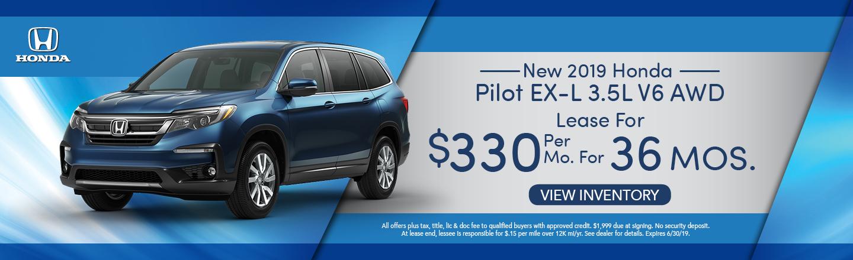 New 2019 Honda Pilot EX-L 3.5L V6 AWD Lease for $330 per mo. x 36 mos.