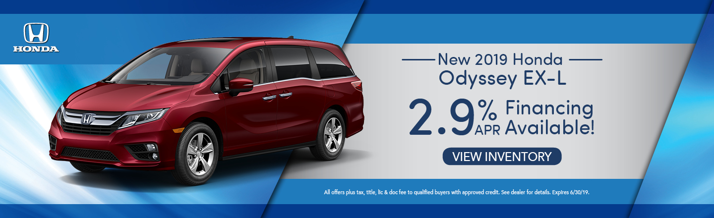 New 2019 Honda Odyssey EX-L 2.9% APR Financing Available!