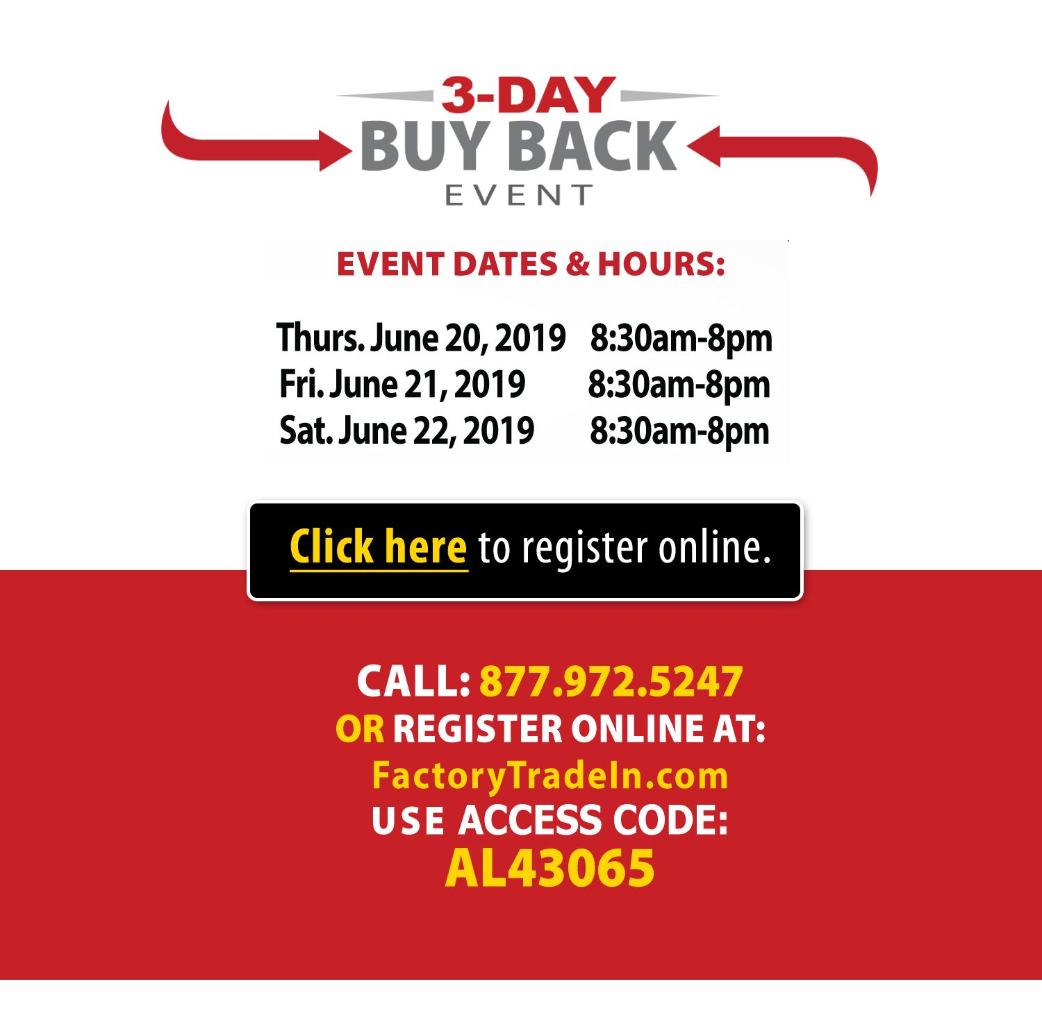 3 day buy back sales event
