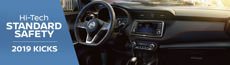 Safety features and interior of the 2018 Nissan Kicks - available at Rountree Moore Nissan near Gainesville and Lake City, FL