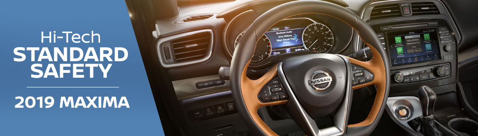 Safety features and interior of the 2019 Nissan Maxima - available at Rountree Moore Nissan near Gainesville and Lake City, FL