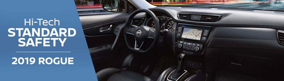 Safety features and interior of the 2019 Nissan Rogue - available at Rountree Moore Nissan near Gainesville and Lake City, FL