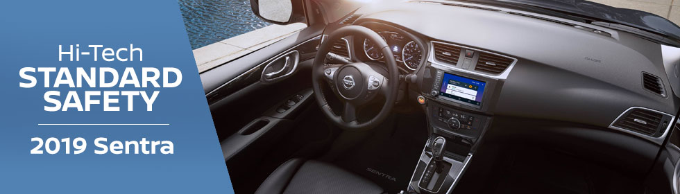 Safety features and interior of the 2019 Nissan Sentra - available at Rountree Moore Nissan near Gainesville and Lake City, FL