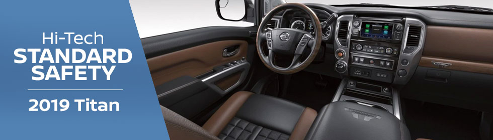 Safety features and interior of the 2019 Nissan Titan - available at Rountree Moore Nissan near Gainesville and Lake City, FL
