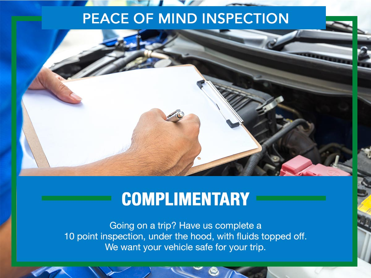 Complimentary peace of mind inspection