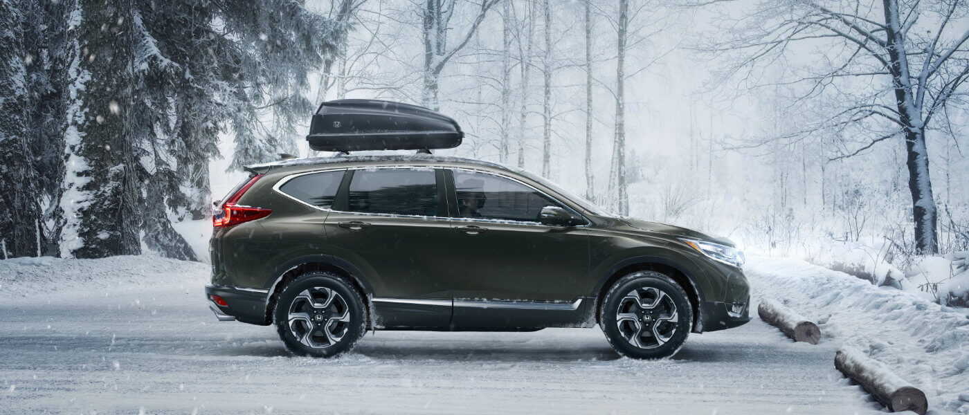 Green 2019 Honda CR-V parked by forest