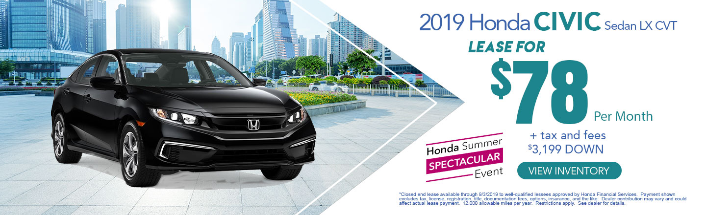 Honda Financial Services Account >> 2019 Honda Summer Spectacular Event Honda Lease Offers