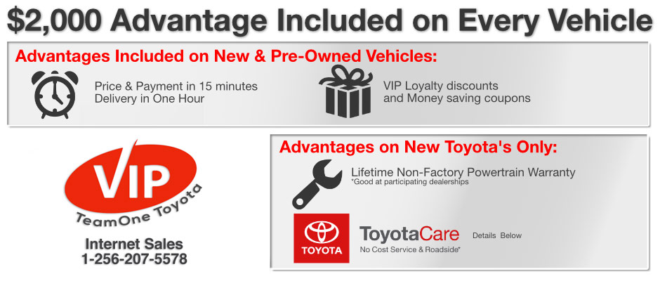 Team One Toyota VIP Plan Information