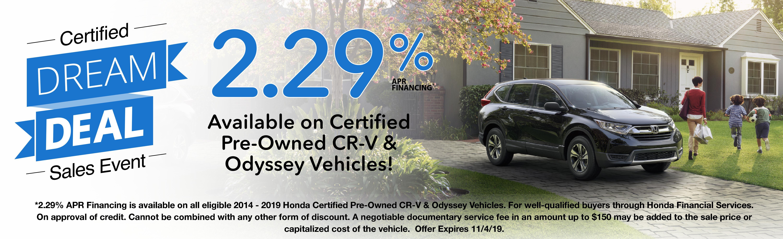 Honda Certified Pre Owned Financing >> 2019 Honda Cr V Lx