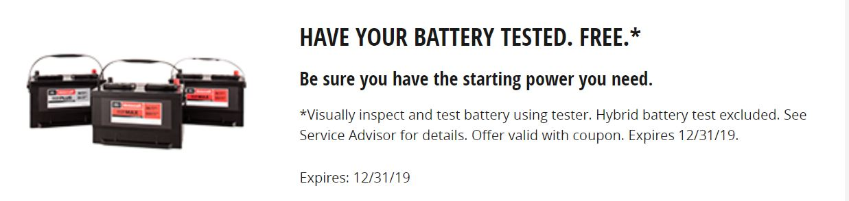 Have Your Battery Tested FREE