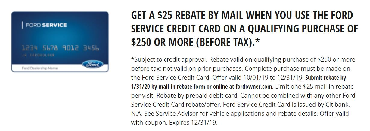 25% Off Rebate When You Use the Ford Service