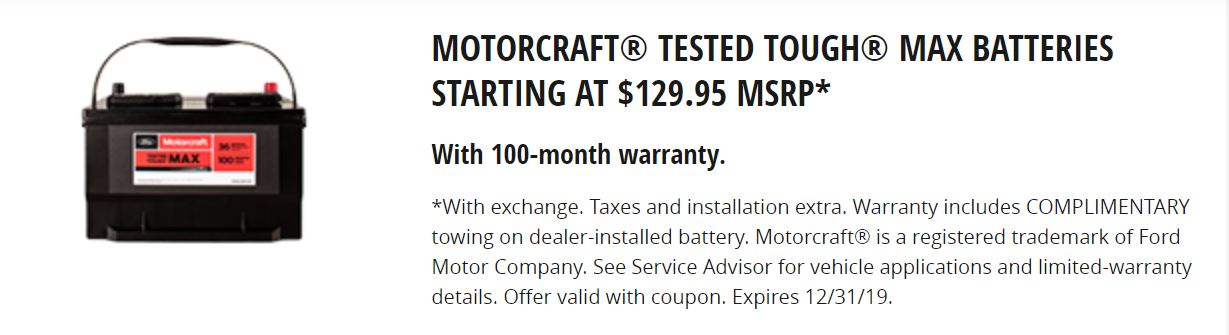 Motorcraft Test Tough Max Batteries Starting