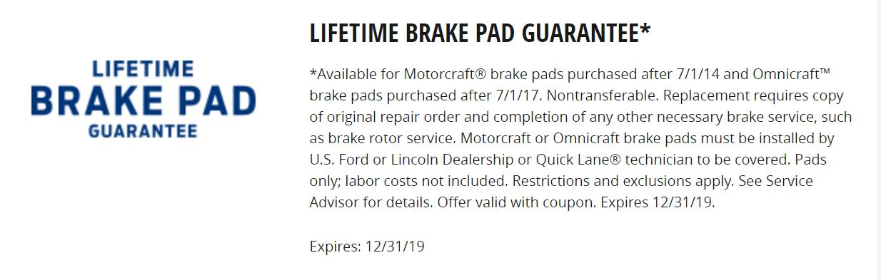 Lifetime Brake Pad Guaranteed