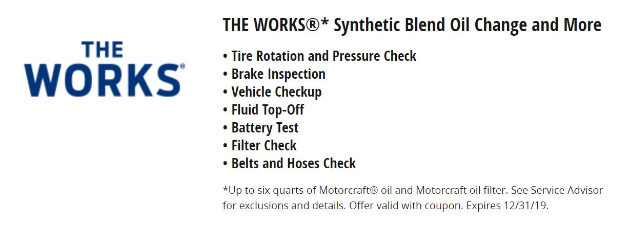The Works Synthetic Blend Oil Change