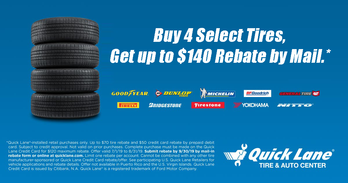 Buy 4 Select Tires and get up to a $140 rebate