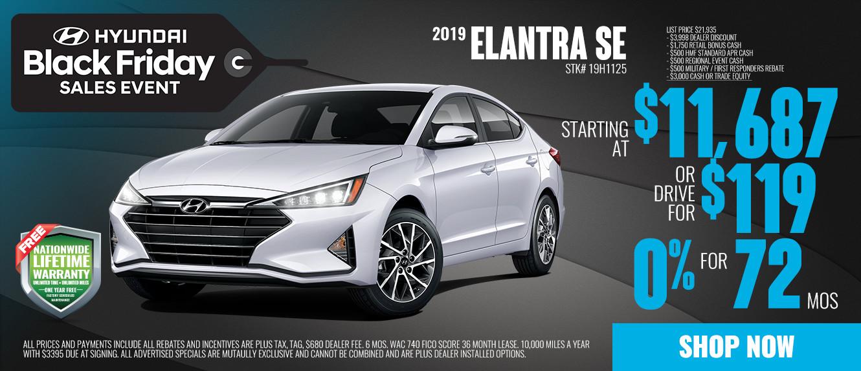 2019 Hyundai Elantra SE Starting at $11,687 or Drive for $119/mo | See Dealer For Details