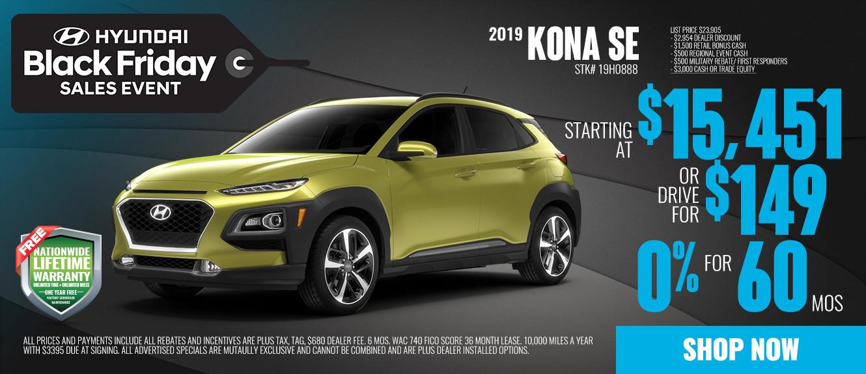 2019 Hyundai Kona SE Starting at $15,451 or Drive for $149/mo | See Dealer For Details