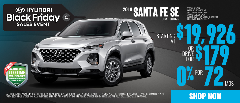 2019 Hyundai Santa Fe SE Starting at $19,926 or Drive for $179/mo | See Dealer For Details