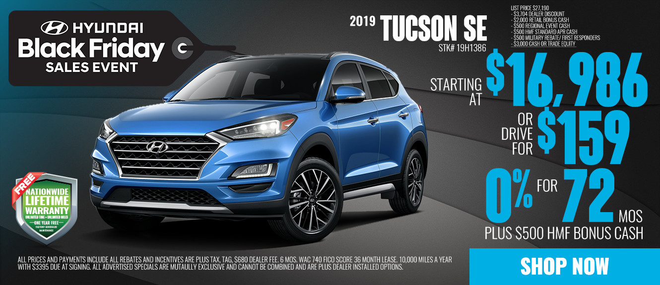 2019 Hyundai Tucson SE Starting at $16,986 or Drive for $159/mo | See Dealer For Details