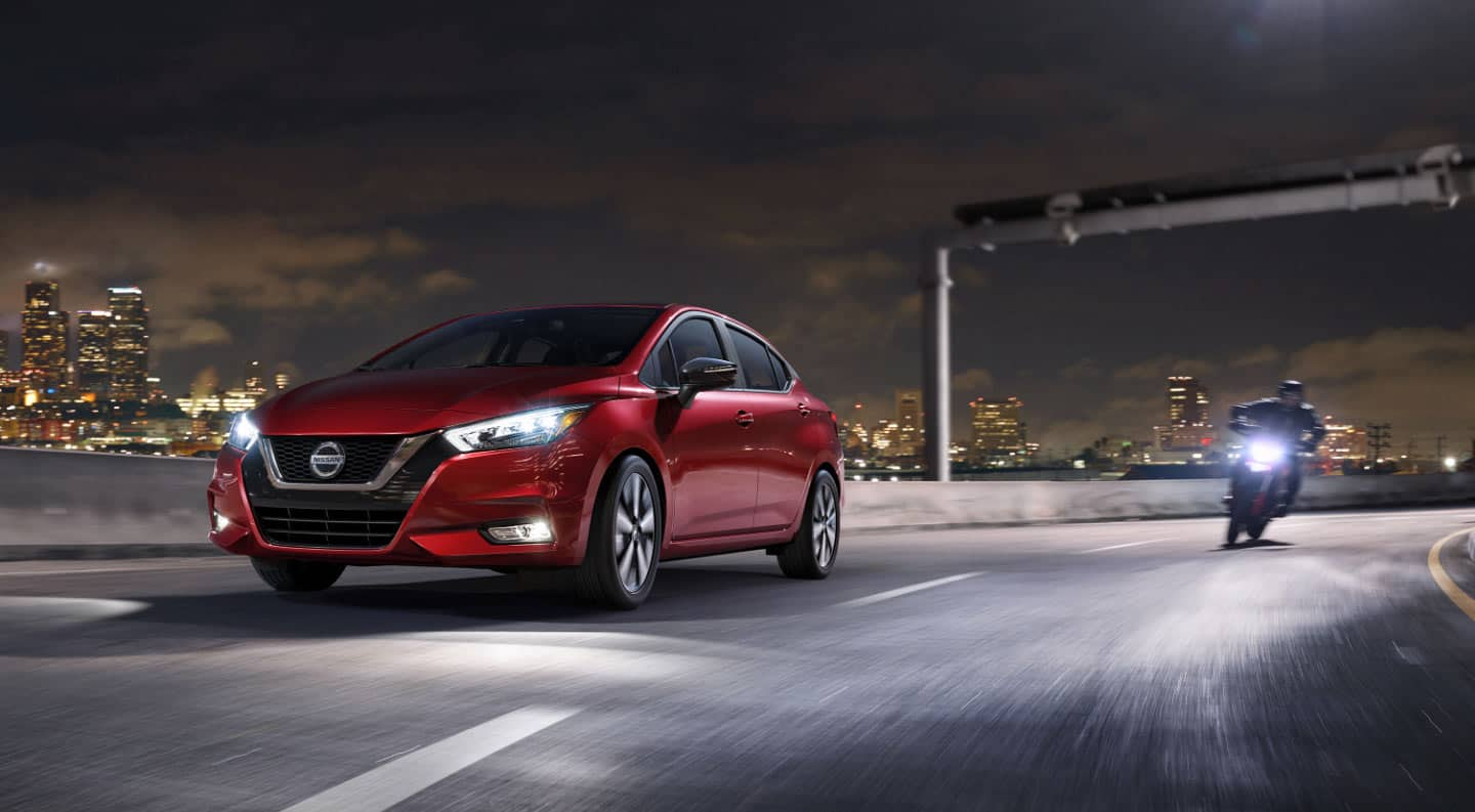 The 2020 Nissan Versa in red