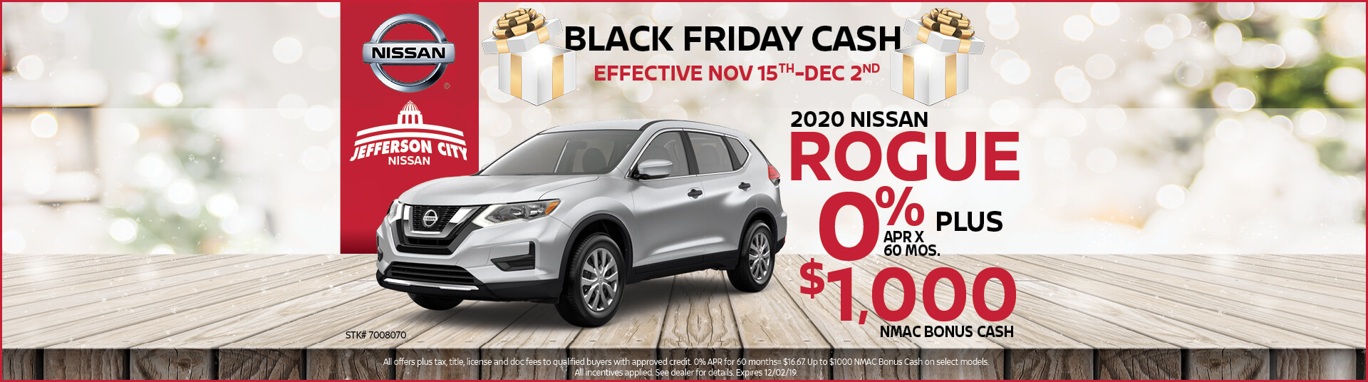 Get 0% APR x mos. + up to $1,000 in Nissan Rebates on a 2020 Nissan Rogue