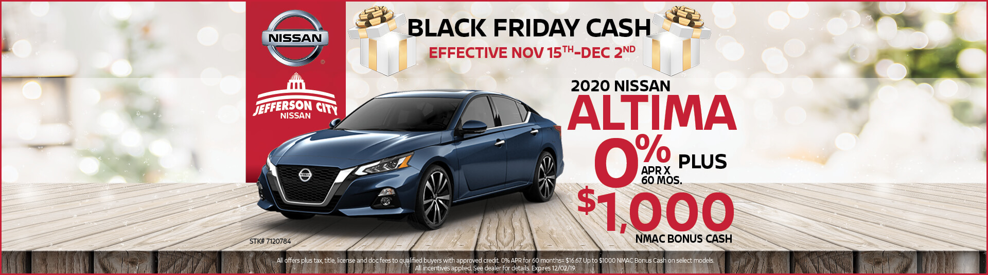 Get 0% APR x mos. + up to $1,000 in Nissan Rebates on a 2020 Nissan Altima
