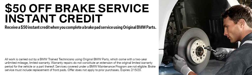 $50 Off Brake Service Instant Credit